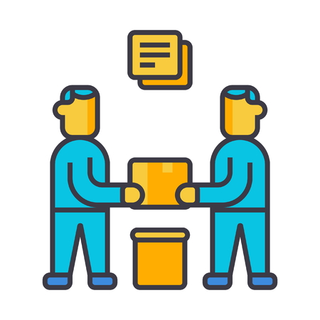 Partnership, contract signing flat line illustration, concept vector icon isolated on white background Иллюстрация