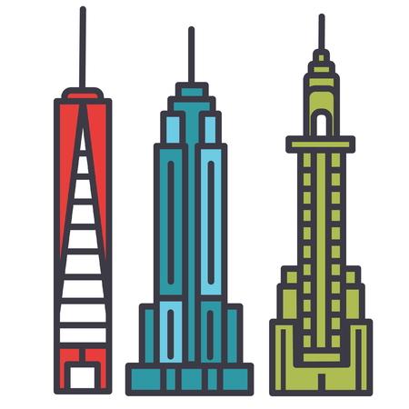 뉴욕 스카이 라인 평면 그림, 흰색 배경에 고립 된 개념 벡터 아이콘