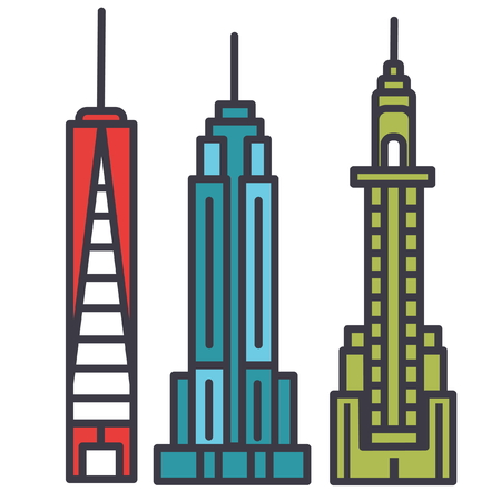 New york skyline flat line illustration, concept vector icon isolated on white background