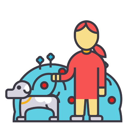 Pets care, dog with woman, animal help flat line illustration.