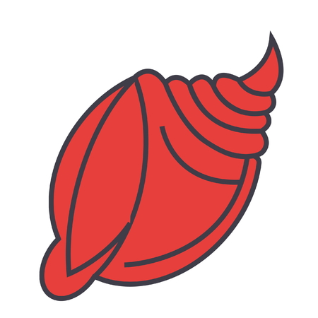 Big shell flat line illustration, concept vector icon isolated on white background Ilustração