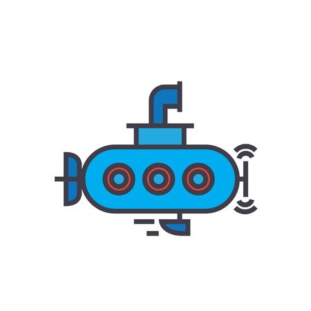 Submarine flat line illustration, concept vector icon isolated on white background