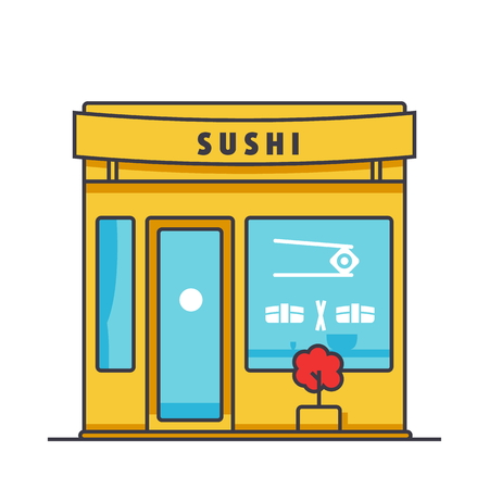 Sushi restaurant building flat line illustration, concept vector icon isolated on white background Ilustração