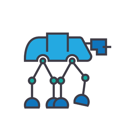 Robot warior, armored transport  flat line illustration, concept vector icon isolated on white background Illustration