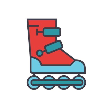 Roller skates flat line illustration, concept vector icon isolated on white background Çizim