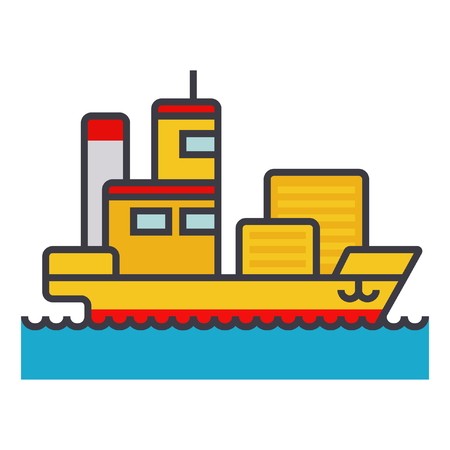 car isolated: Ship cargo container  flat line illustration, concept vector icon isolated on white background