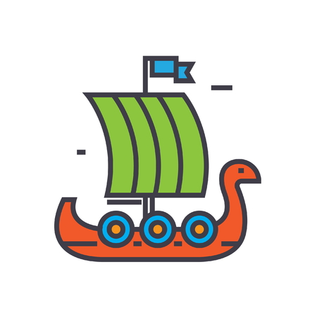Viking wooden ship flat line illustration, concept vector icon isolated on white background Illustration