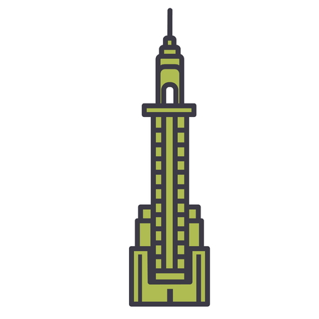Skyscraper flat line illustration, concept vector icon isolated on white background Illustration