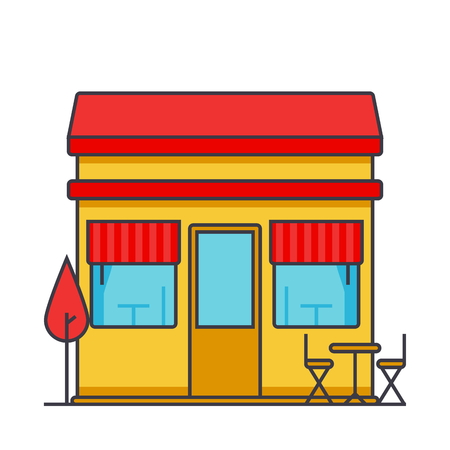 Restaurant building flat line illustration, concept vector icon isolated on white background