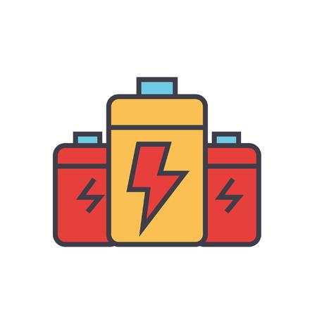 Batterie, Energie-Power-flache Linie Illustration, Konzept Vektor-Symbol isoliert auf weißem Hintergrund Standard-Bild - 86168744