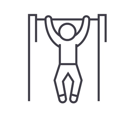 Pull up, workout, street exercise flat line illustration, concept vector isolated icon Stock Vector - 85954315