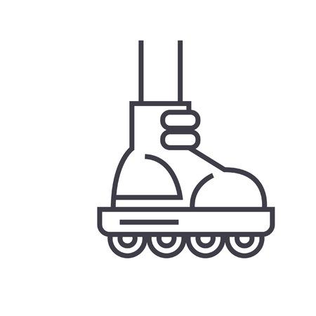 롤러 스케이팅 평면 그림, 개념 벡터 절연 아이콘