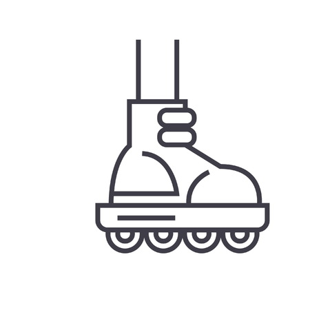 Roller skating flat line illustration, concept vector isolated icon