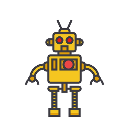 Robot cool flat line illustration.