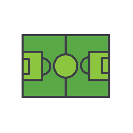 Soccer field, football flat line illustration, concept vector icon isolated on white background