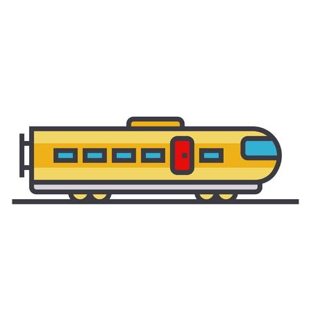 電車現代のフラットラインイラスト、白の背景に分離コンセプトベクトルアイコン 写真素材 - 85954320