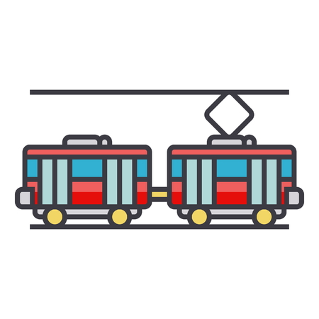 Tram flat line illustration, concept vector icon isolated on white background Illustration