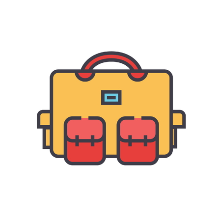 Travel bag case flat line illustration, concept vector icon isolated on white background