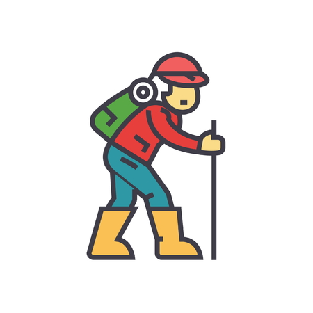 Traveler, hiking man flat line illustration, concept vector icon isolated on white background Illustration
