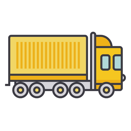 car isolated: Truck cargo container flat line illustration, concept vector icon isolated on white background Illustration