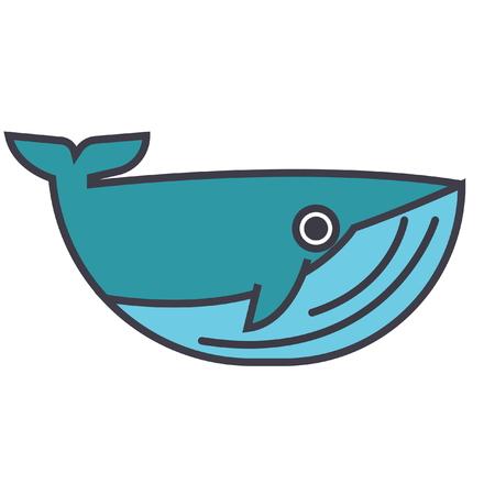고래 평면 그림, 흰색 배경에 고립 된 개념 벡터 아이콘