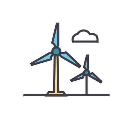 풍력 터빈 플랫 라인 그림, 흰색 배경에 고립 된 개념 벡터 아이콘