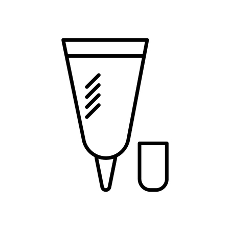 small cream tube  vector line icon, sign, illustration on white background, editable strokes