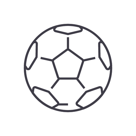 soccer ball,football vector line icon, sign, illustration on white background, editable strokes 向量圖像