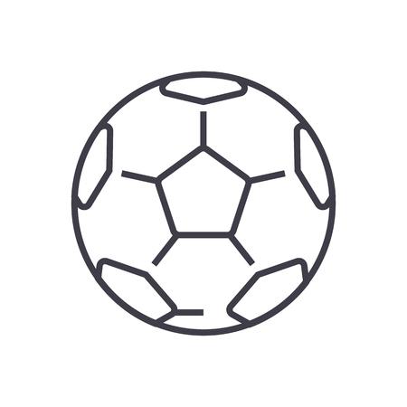 soccer ball,football vector line icon, sign, illustration on white background, editable strokes Illustration