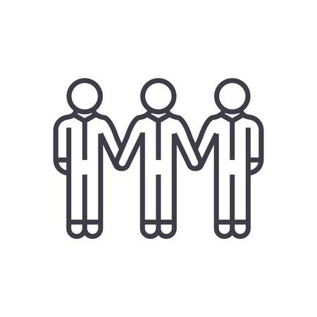 사회 사회, 채권 벡터 라인 아이콘, 기호, 흰색 배경에 그림 편집 가능한 획