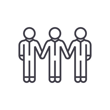 social community,bonds vector line icon, sign, illustration on white background, editable strokes Illustration