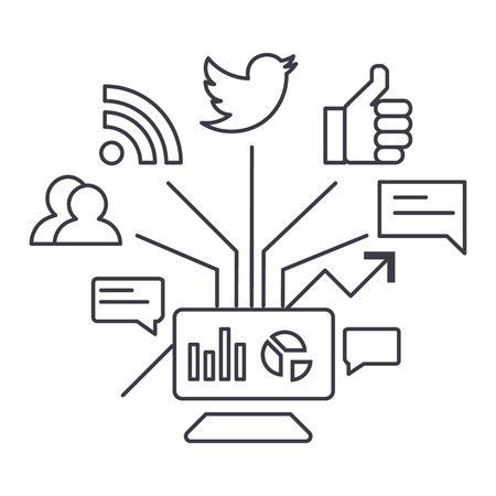 social marketing vector line icon, sign, illustration on white background, editable strokes Illustration