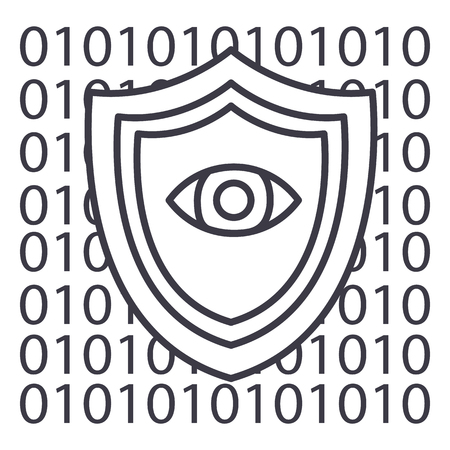 software security,anti virus vector line icon, sign, illustration on white background, editable strokes Illustration
