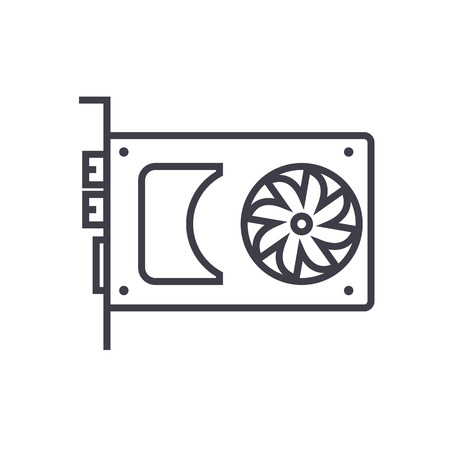 sound card,video card vector line icon, sign, illustration on white background, editable strokes