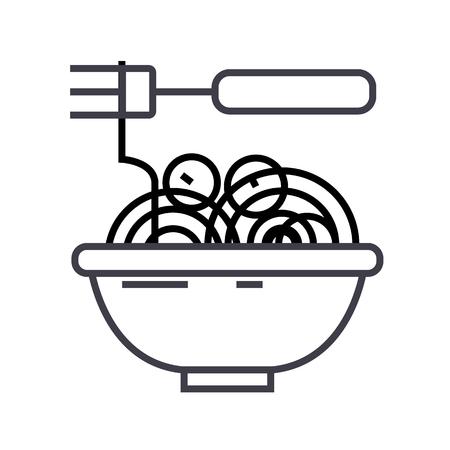 미트볼 스파게티 그레고리력 벡터 라인 아이콘, 기호, 흰색 배경에 그림 편집 가능한 획 일러스트
