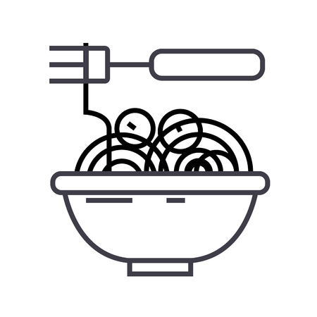 spaghetti bolognese with meatballs vector line icon, sign, illustration on white background, editable strokes Illustration