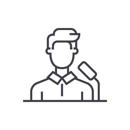 speaker,business presentation vector line icon, sign, illustration on white background, editable strokes