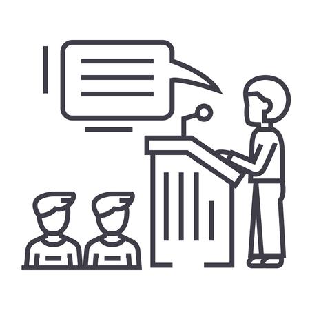 journalism: speaker,presentation,podium tribune stand vector line icon, sign, illustration on white background, editable strokes