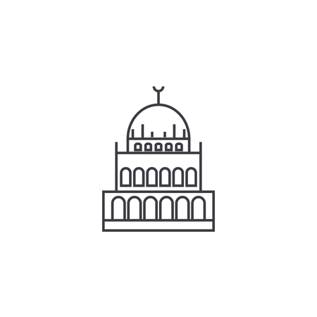 small mosque  vector line icon, sign, illustration on white background, editable strokes Illustration