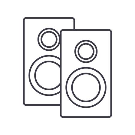 스피커 벡터 라인 아이콘, 기호, 흰색 배경에 그림 편집 가능한 획