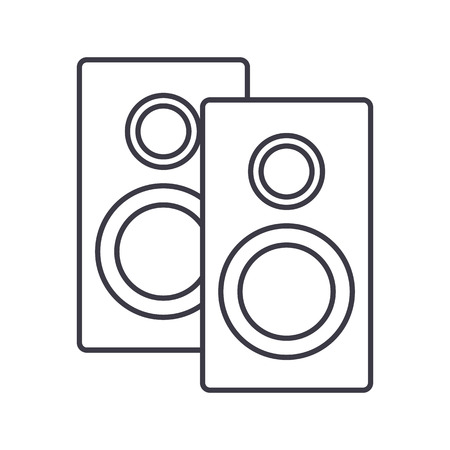 speakers vector line icon, sign, illustration on white background, editable strokes