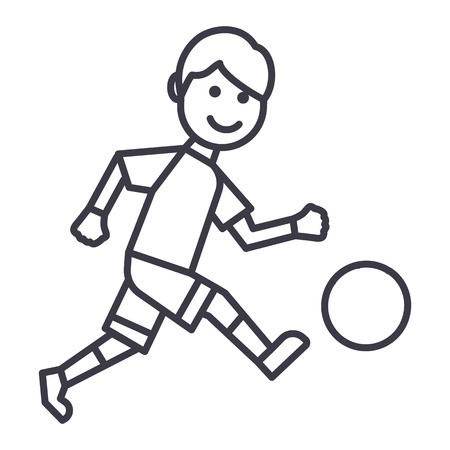 soccer player vector line icon, sign, illustration on white background, editable strokes