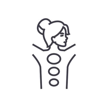 스파, 돌 마사지 벡터 선 아이콘, 기호, 흰색 배경에 그림 편집 가능한 획