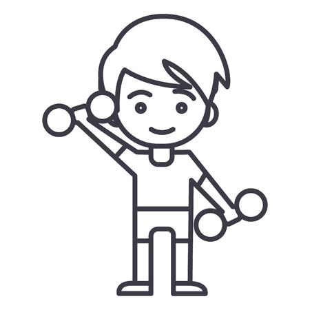 Hombre de deporte, niño con pesas, niño icono de línea de vector de entrenamiento, signo, ilustración sobre fondo blanco, movimientos editables Foto de archivo - 87220857