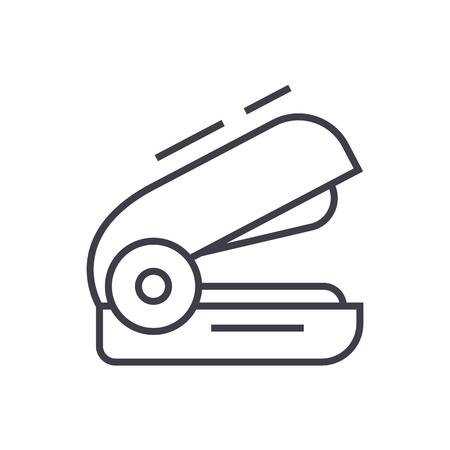 ホッチキス ベクトル線アイコン、記号、白い背景に、編集可能なストロークの図
