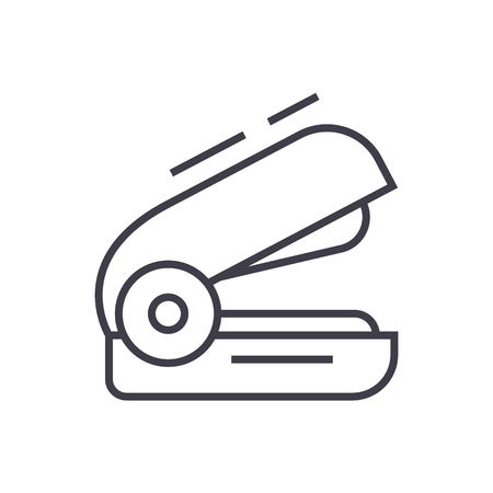 stapler vector line icon, sign, illustration on white background, editable strokes Ilustração