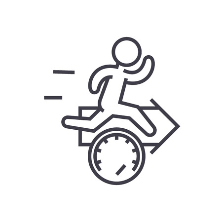 speed, effiecency, running man with arrow vector line icon, sign, illustration on white background, editable strokes