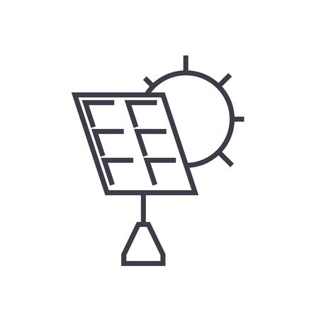 Solarbatterievektorlinie Ikone, Zeichen, Illustration auf weißem Hintergrund, editable Anschläge Standard-Bild - 87220865