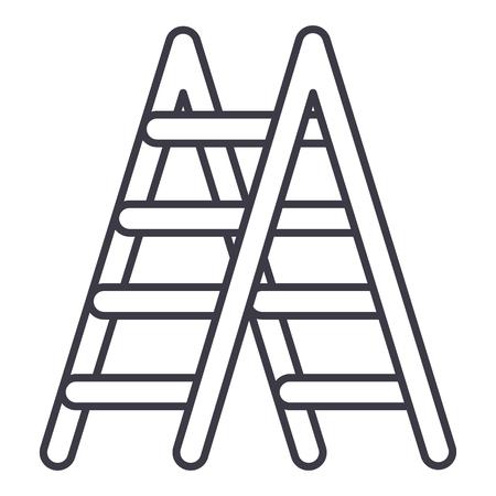trappen vector lijn pictogram, teken, illustratie op witte achtergrond, bewerkbare lijnen Stock Illustratie