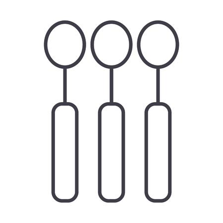 spoon vector line icon, sign, illustration on white background, editable strokes Illustration